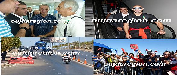 شاهدوا فيديو وصور لحظة وصول المنتخب الوطني لوجدة وهوار والجماهير في استقبالهم